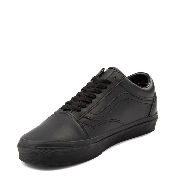 alternate view Vans Old Skool Leather Skate Shoe - Black MonochromeALT2