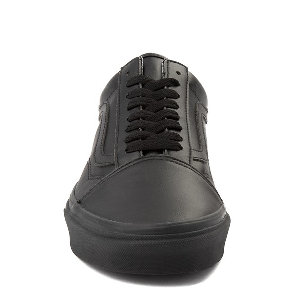 alternate view Vans Old Skool Leather Skate Shoe - Black MonochromeALT4