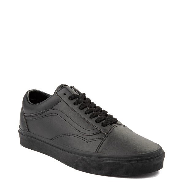 alternate view Vans Old Skool Leather Skate Shoe - Black MonochromeALT5