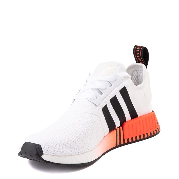 alternate view Mens adidas NMD R1 Athletic Shoe - White / Solar Red / Black FadeALT2