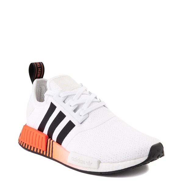 alternate view Mens adidas NMD R1 Athletic Shoe - White / Solar Red / Black FadeALT5