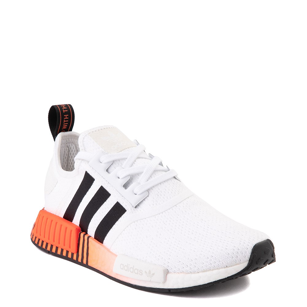 Mens Adidas Nmd R1 Athletic Shoe White Solar Red Black Fade