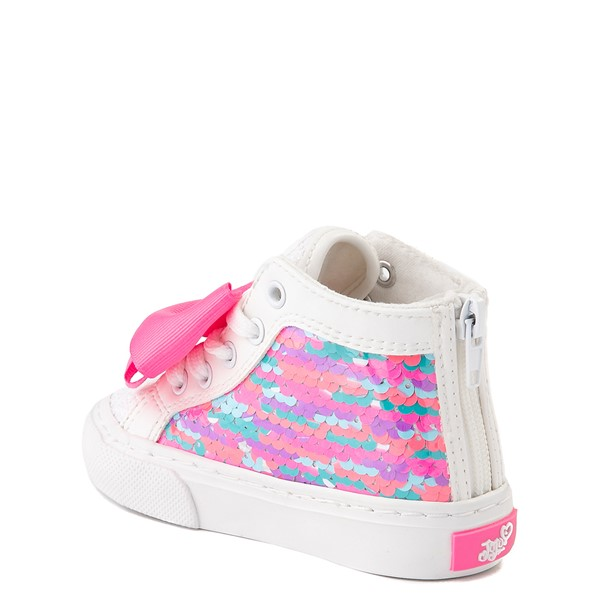 alternate view JoJo Siwa™ Unicorn Sequin Hi Sneaker - Toddler - White / PinkALT2