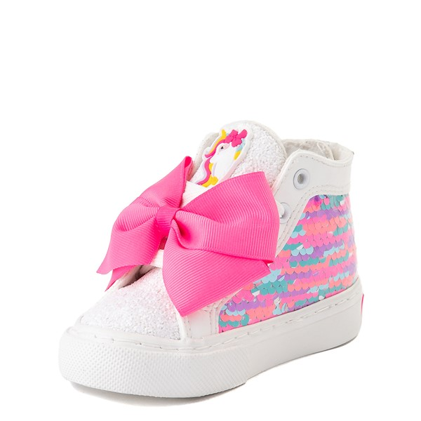alternate view JoJo Siwa™ Unicorn Sequin Hi Sneaker - Toddler - White / PinkALT3