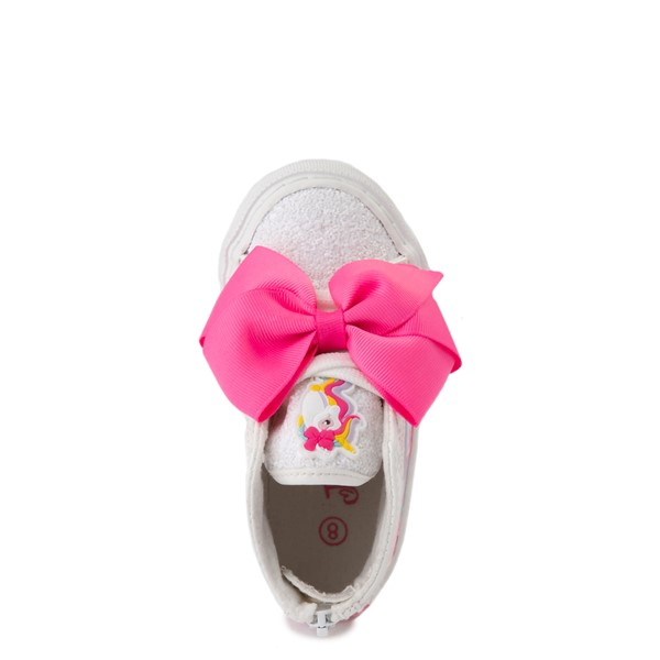 alternate view JoJo Siwa™ Unicorn Sequin Hi Sneaker - Toddler - White / PinkALT4B