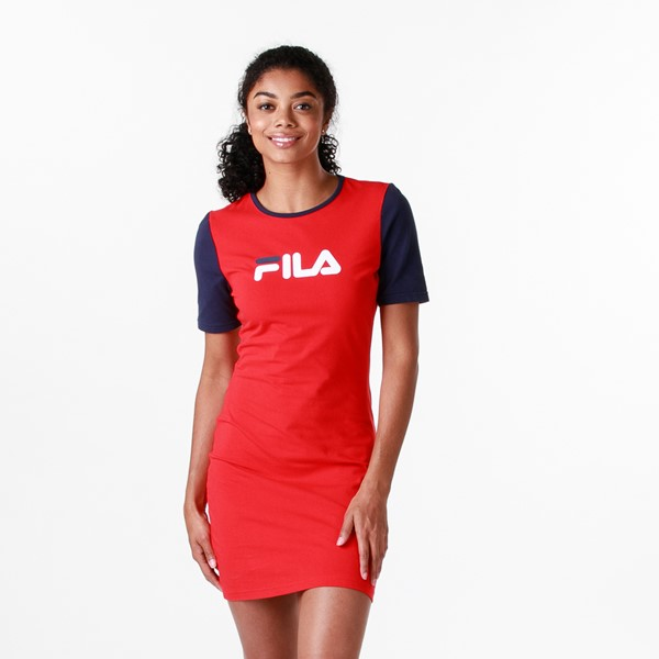 Womens Fila Roslyn Fitted Dress - Red / Navy / White