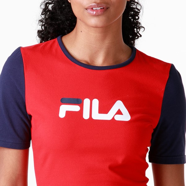 alternate view Womens Fila Roslyn Fitted Dress - Red / Navy / WhiteALT2