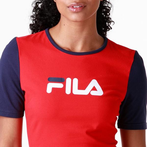 alternate view Womens Fila Roslyn Fitted Dress - Red / Navy / WhiteALT2
