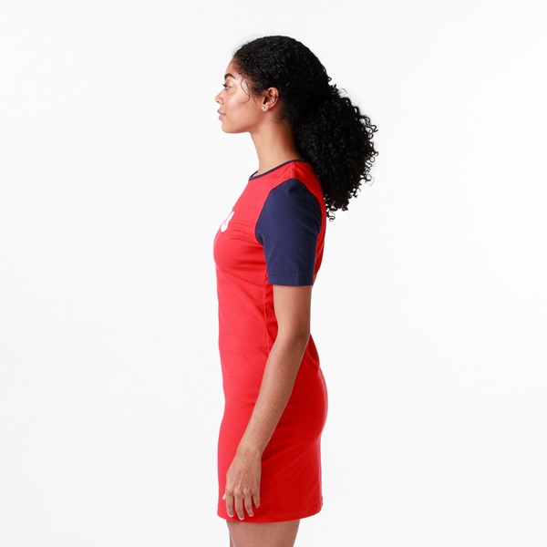 alternate view Womens Fila Roslyn Fitted Dress - Red / Navy / WhiteALT4