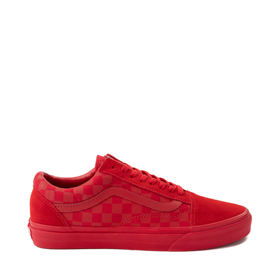 Main view of Vans Old Skool Checkerboard Skate Shoe - Red Monochrome