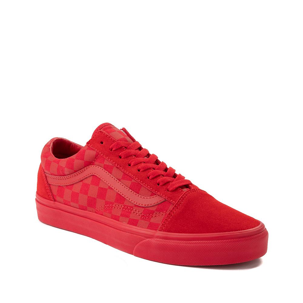 Vans Old Skool Tonal Checkerboard Skate Shoe - Racing Red