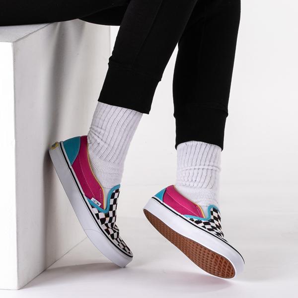 alternate view Vans Slip On Checkerboard Skate Shoe - MultiB-LIFESTYLE1