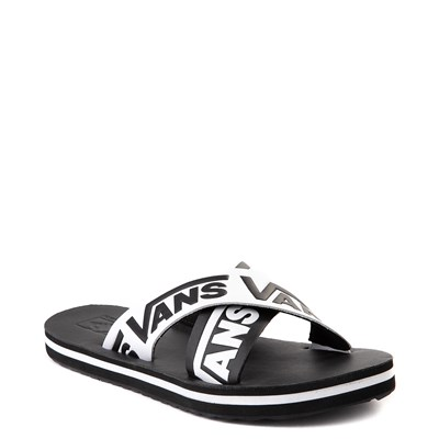 Alternate view of Womens Vans Cross Strap Sandal - Black / White