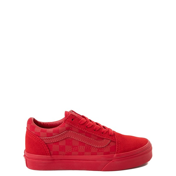 Main view of Vans Old Skool Tonal Checkerboard Skate Shoe - Little Kid - Racing Red