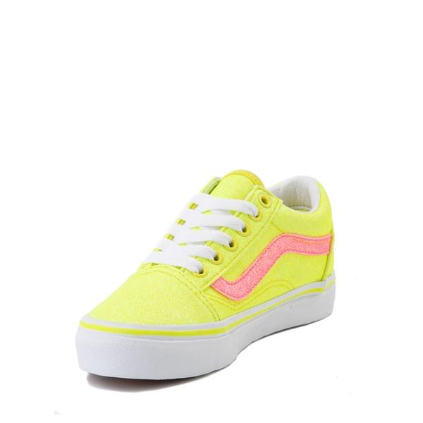 alternate view Vans Old Skool Glitter Skate Shoe - Little Kid - Neon YellowALT3