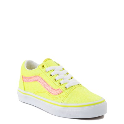 Alternate view of Vans Old Skool Glitter Skate Shoe - Little Kid - Neon Yellow