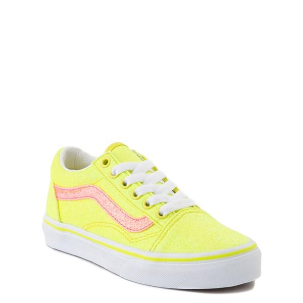 alternate view Vans Old Skool Glitter Skate Shoe - Big Kid - Neon YellowALT1
