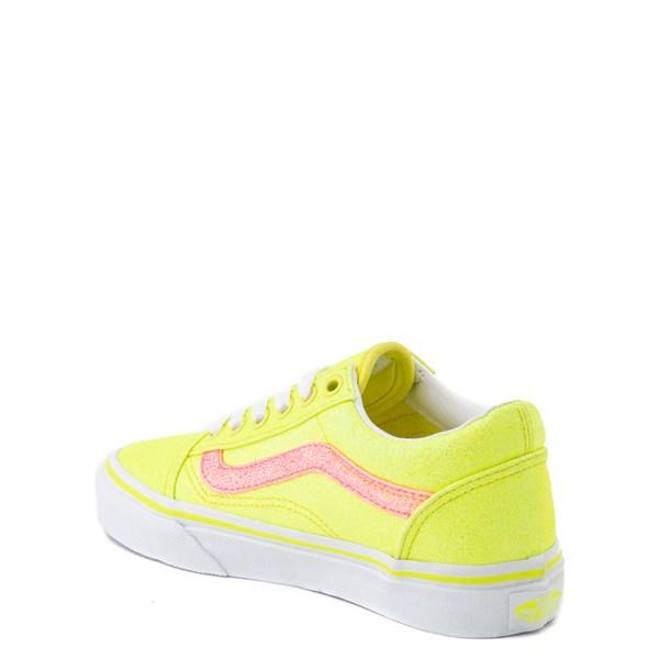 alternate view Vans Old Skool Glitter Skate Shoe - Big Kid - Neon YellowALT2