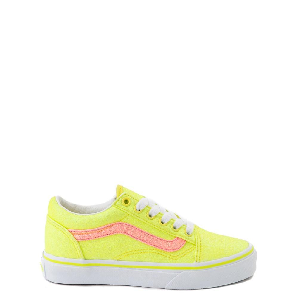 Vans Old Skool Glitter Skate Shoe - Big Kid - Neon Yellow