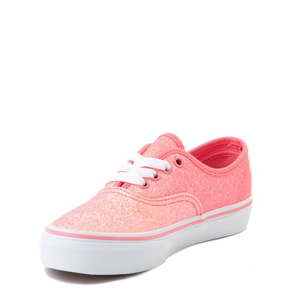 alternate view Vans Authentic Glitter Skate Shoe - Little Kid - Neon PinkALT2