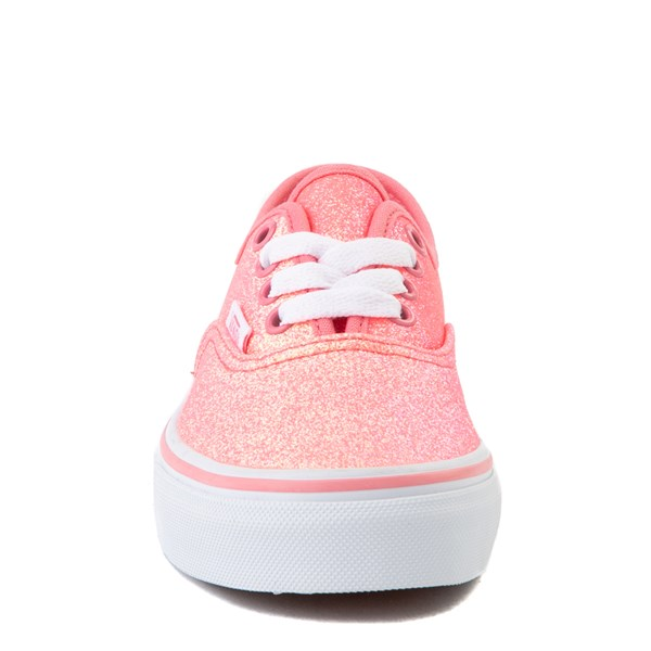 alternate view Vans Authentic Glitter Skate Shoe - Little Kid - Neon PinkALT3