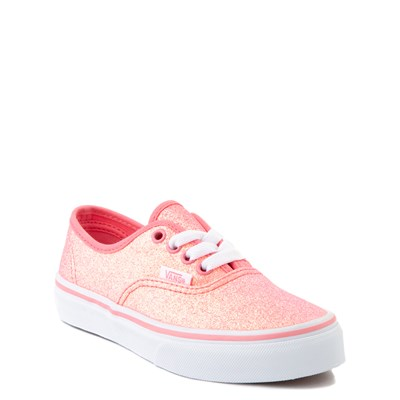 Alternate view of Vans Authentic Glitter Skate Shoe - Little Kid - Neon Pink