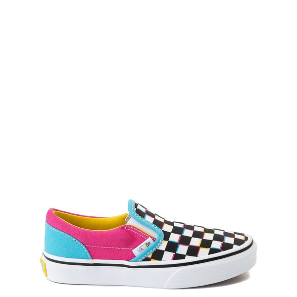 Main view of Vans Slip On Checkerboard Skate Shoe - Little Kid - Multicolor
