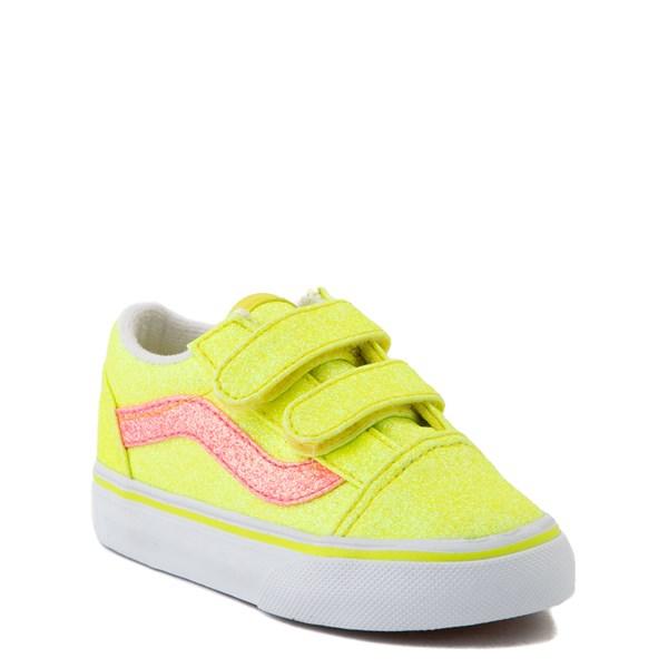 alternate view Vans Old Skool V Glitter Skate Shoe - Baby / Toddler - Neon YellowALT1