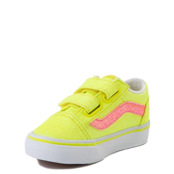 alternate view Vans Old Skool V Glitter Skate Shoe - Baby / Toddler - Neon YellowALT3