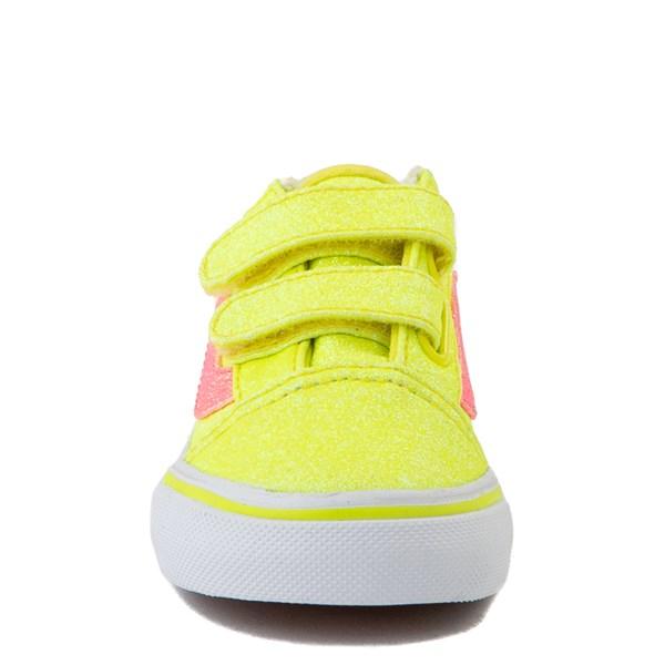 alternate view Vans Old Skool V Glitter Skate Shoe - Baby / Toddler - Neon YellowALT4