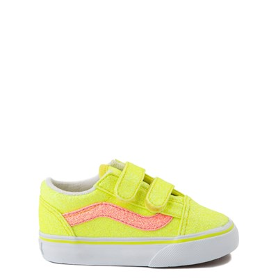 Main view of Vans Old Skool V Glitter Skate Shoe - Baby / Toddler - Neon Yellow