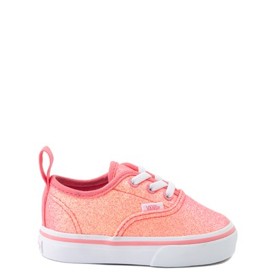 Main view of Vans Authentic Glitter Skate Shoe - Baby / Toddler - Neon Pink