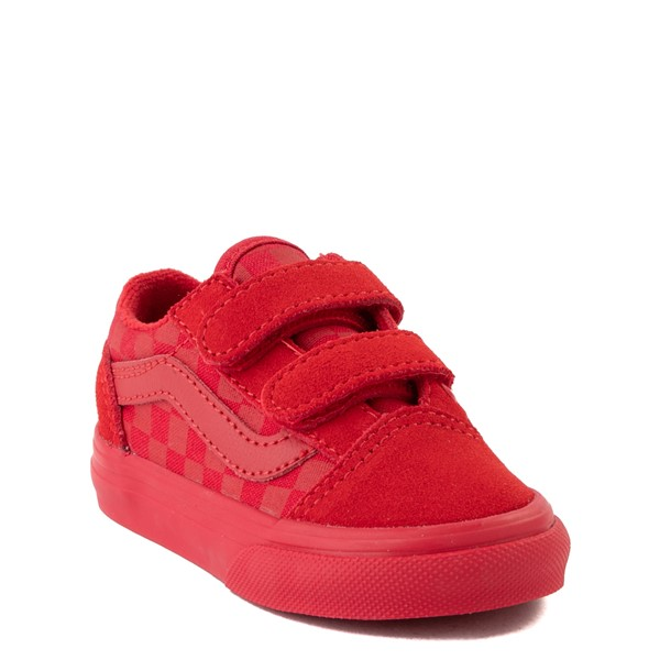 alternate view Vans Old Skool V Tonal Checkerboard Skate Shoe - Baby / Toddler - Racing RedALT5