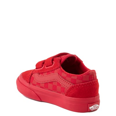 Alternate view of Vans Old Skool V Tonal Checkerboard Skate Shoe - Baby / Toddler - Racing Red