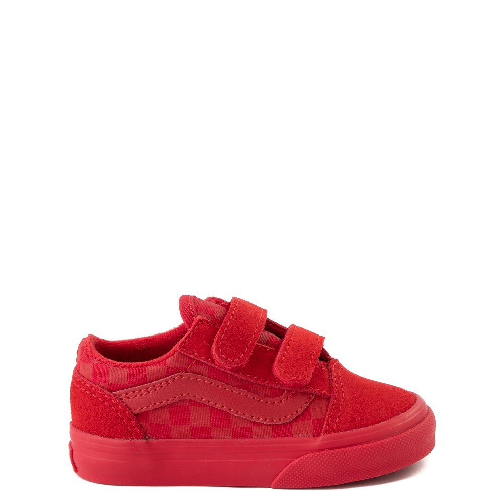 Vans Old Skool V Tonal Checkerboard Skate Shoe - Baby / Toddler - Racing Red