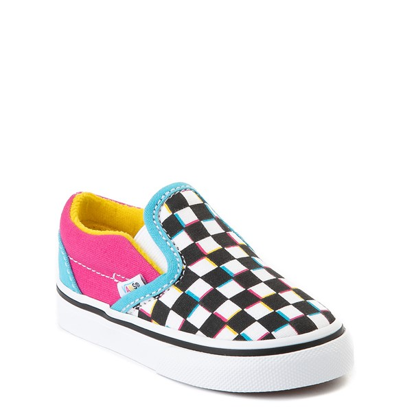 alternate view Vans Slip On Checkerboard Skate Shoe - Baby / Toddler - MultiALT5