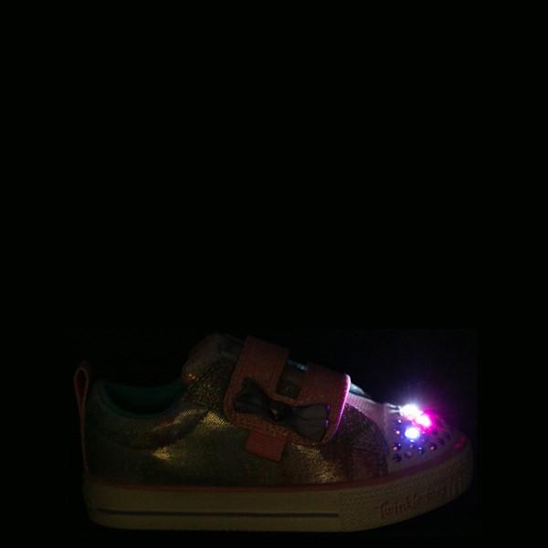 alternate view Skechers Twinkle Toes Shuffle Lites Sweet Supply Sneaker - Toddler - Light Pink / MultiALT1