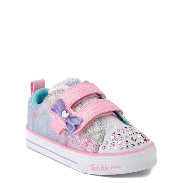 alternate view Skechers Twinkle Toes Shuffle Lites Sweet Supply Sneaker - Toddler - Light Pink / MultiALT5