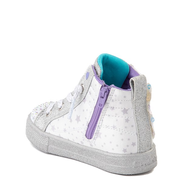 alternate view Skechers Twinkle Toes Shuffle Brights Sneaker - Toddler - White / SilverALT1B