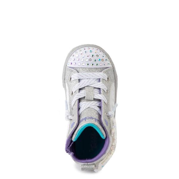 alternate view Skechers Twinkle Toes Shuffle Brights Sneaker - Toddler - White / SilverALT2