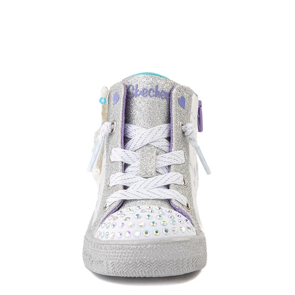 alternate view Skechers Twinkle Toes Shuffle Brights Sneaker - Toddler - White / SilverALT4