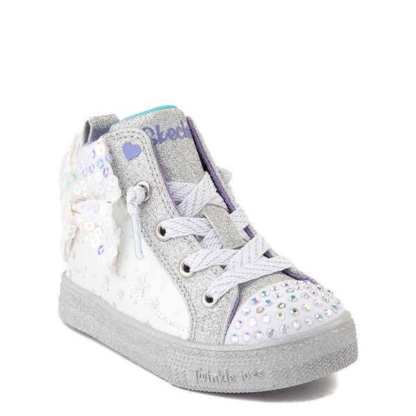 alternate view Skechers Twinkle Toes Shuffle Brights Sneaker - Toddler - White / SilverALT5