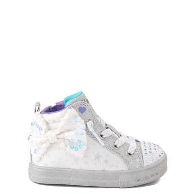 Main view of Skechers Twinkle Toes Shuffle Brights Sneaker - Toddler - White / Silver
