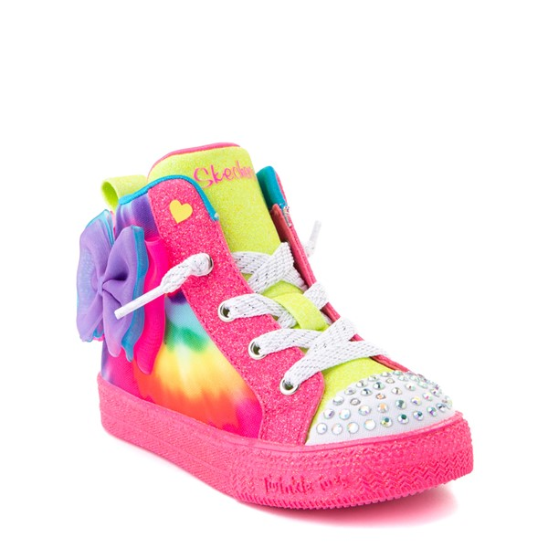 alternate view Skechers Twinkle Toes Shuffle Bow Bright Neon Sneaker - Toddler - MultiALT1B