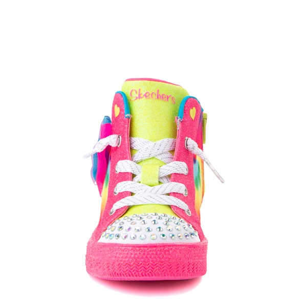 alternate view Skechers Twinkle Toes Shuffle Bow Bright Neon Sneaker - Toddler - MultiALT4