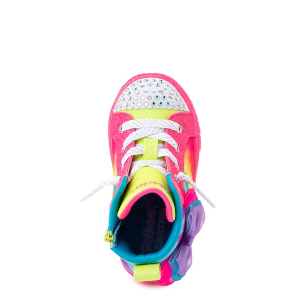 alternate view Skechers Twinkle Toes Shuffle Bow Bright Neon Sneaker - Toddler - MultiALT4B