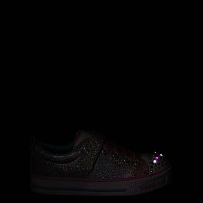 Alternate view of Skechers Twinkle Toes Shuffle Lites Sweet Supply Sneaker - Little Kid - Light Pink / Multi