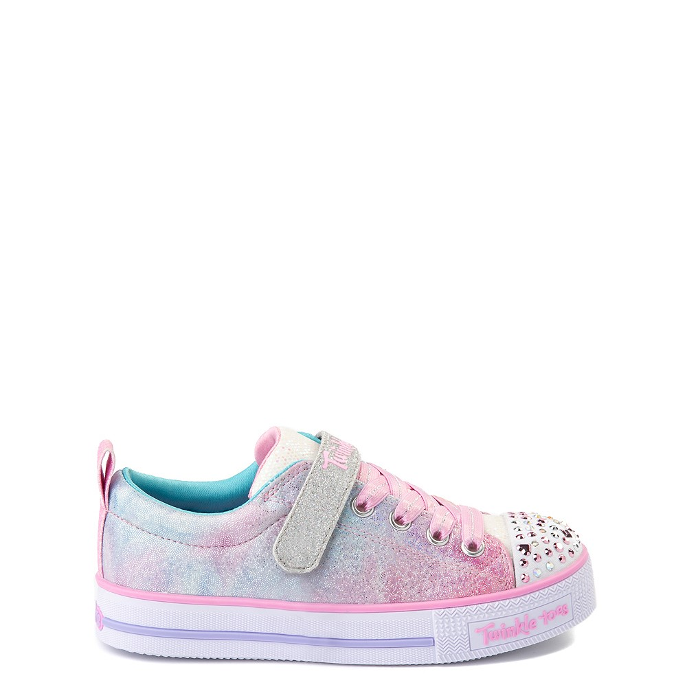 Skechers Twinkle Toes Shuffle Lites Sweet Supply Sneaker - Little Kid - Light Pink / Multi