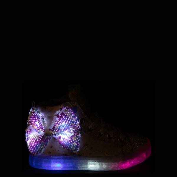 alternate view Skechers Twinkle Toes Shuffle Brights Sneaker - Little Kid - White / SilverALT1
