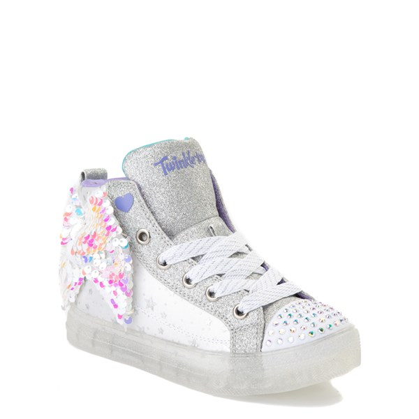 alternate view Skechers Twinkle Toes Shuffle Brights Sneaker - Little Kid - White / SilverALT1B